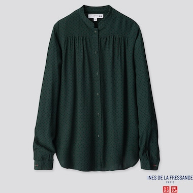 WOMEN RAYON CREPE LONG-SLEEVE BLOUSE (INES DE LA FRESSANGE), DARK GREEN, medium