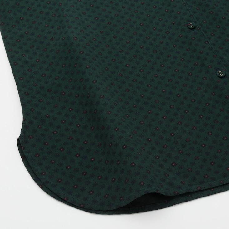 Women Rayon Crepe Long-Sleeve Blouse (Ines De La Fressange), Dark Green, Large