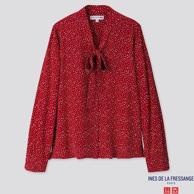 WOMEN RAYON CREPE LONG-SLEEVE BLOUSE (INES DE LA FRESSANGE), RED, large