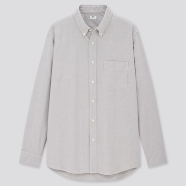 Men Oxford Regular-Fit Long-Sleeve Shirt (Online Exclusive),                             Gray, Medium