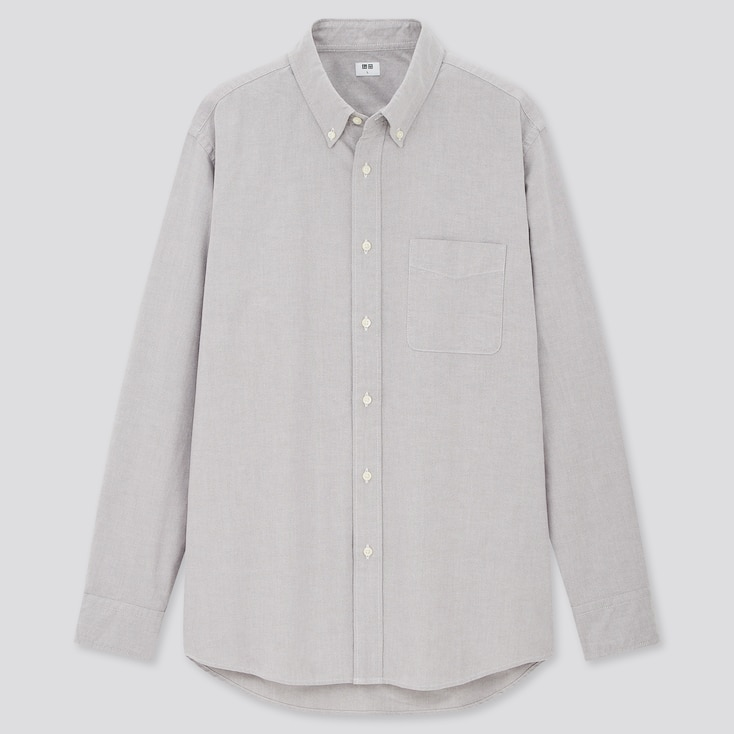 MEN OXFORD REGULAR-FIT LONG-SLEEVE SHIRT (ONLINE EXCLUSIVE), GRAY, large