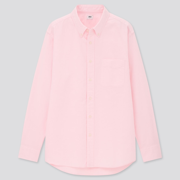 MEN OXFORD REGULAR-FIT LONG-SLEEVE SHIRT (ONLINE EXCLUSIVE), PINK, large