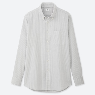 MEN OXFORD REGULAR-FIT STRIPED LONG-SLEEVE SHIRT (ONLINE EXCLUSIVE), GRAY, medium