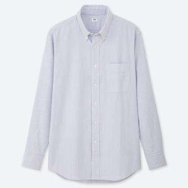 MEN OXFORD REGULAR-FIT STRIPED LONG-SLEEVE SHIRT (ONLINE EXCLUSIVE), BLUE, medium
