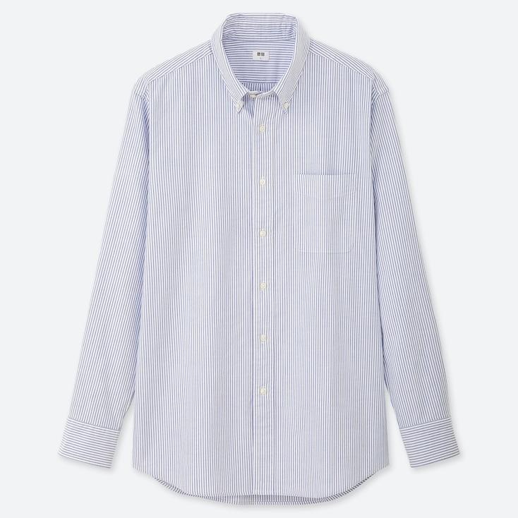 MEN OXFORD REGULAR-FIT STRIPED LONG-SLEEVE SHIRT (ONLINE EXCLUSIVE), BLUE, large