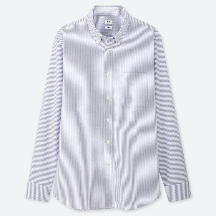 MEN OXFORD STRIPED SLIM-FIT LONG-SLEEVE SHIRT, BLUE, large