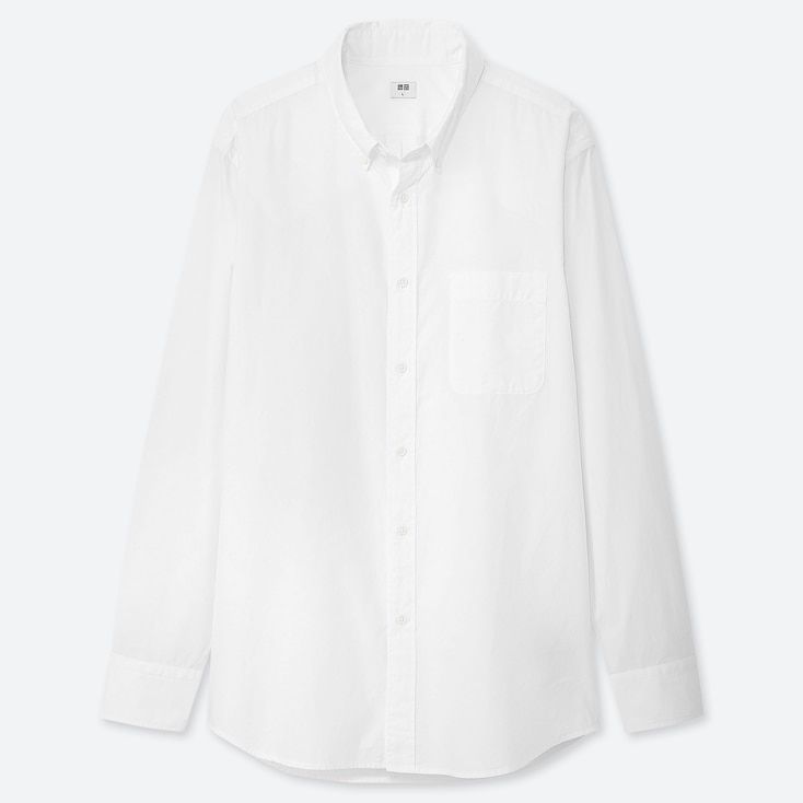 Men Extra Fine Cotton Broadcloth Long-Sleeve Shirt, White, Large
