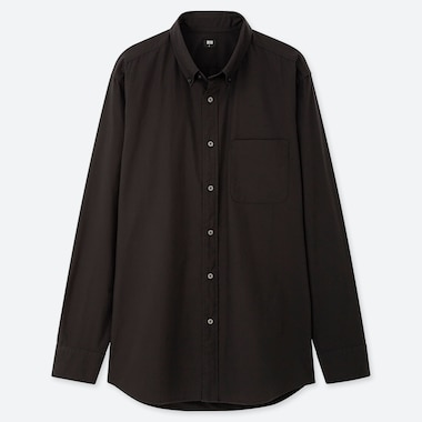 Men Extra Fine Cotton Broadcloth Long-Sleeve Shirt, Black, Medium