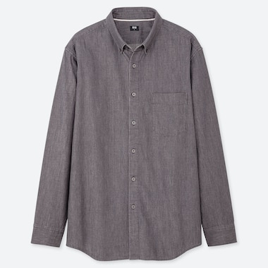 MEN DENIM REGULAR-FIT LONG-SLEEVE SHIRT (ONLINE EXCLUSIVE), DARK GRAY, medium