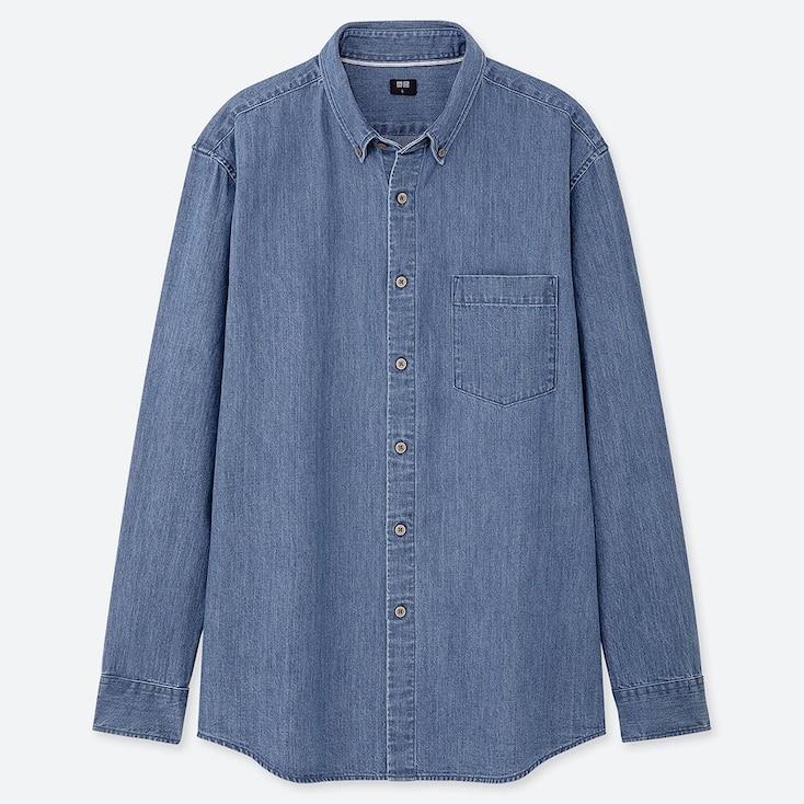MEN DENIM REGULAR-FIT LONG-SLEEVE SHIRT (ONLINE EXCLUSIVE), BLUE, large