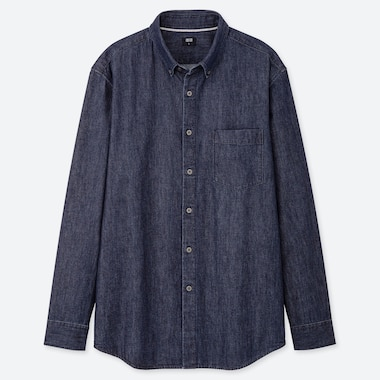 MEN DENIM REGULAR-FIT LONG-SLEEVE SHIRT (ONLINE EXCLUSIVE), NAVY, medium