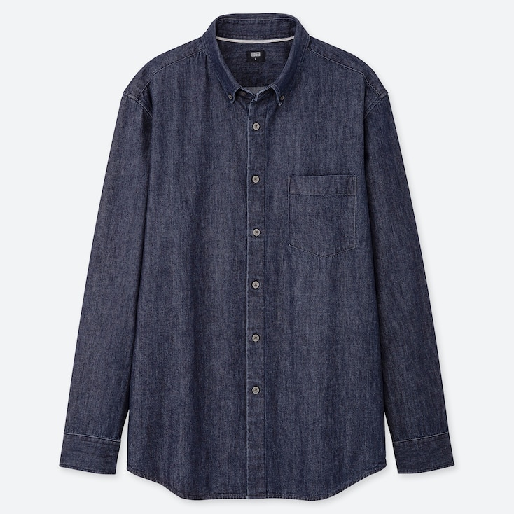MEN DENIM REGULAR-FIT LONG-SLEEVE SHIRT (ONLINE EXCLUSIVE), NAVY, large