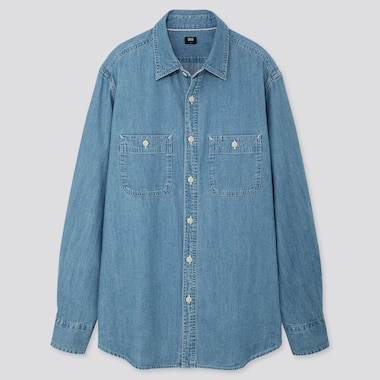 MEN DENIM WORK REGULAR-FIT LONG-SLEEVE SHIRT (ONLINE EXCLUSIVE), BLUE, medium