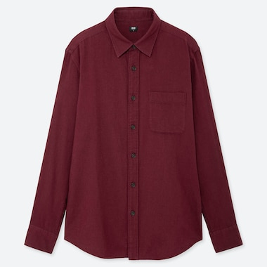 Men Flannel Long-Sleeve Shirt, Wine, Medium