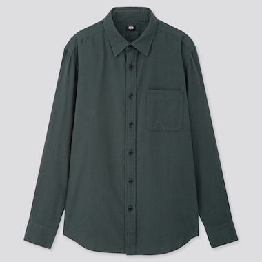 MEN FLANNEL LONG-SLEEVE SHIRT, DARK GREEN, medium