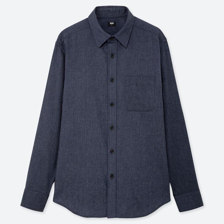 MEN FLANNEL LONG-SLEEVE SHIRT, BLUE, large