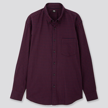 MEN FLANNEL CHECKED LONG-SLEEVE SHIRT, WINE, medium