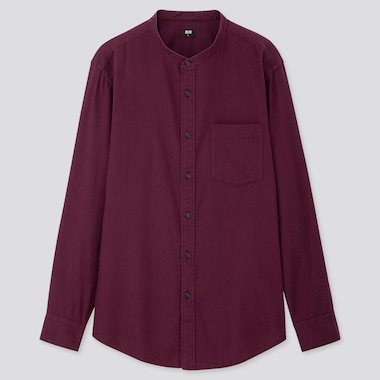 MEN FLANNEL STAND COLLAR LONG-SLEEVE SHIRT (ONLINE EXCLUSIVE), WINE, medium
