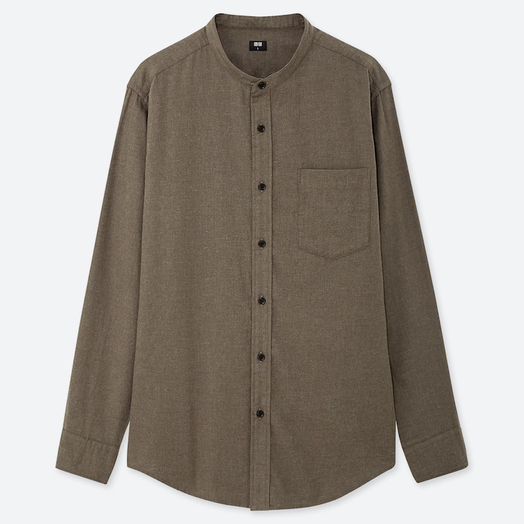 MEN FLANNEL STAND COLLAR LONG-SLEEVE SHIRT (ONLINE EXCLUSIVE), OLIVE, large