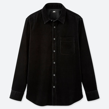 MEN CORDUROY LONG-SLEEVE SHIRT, BLACK, medium