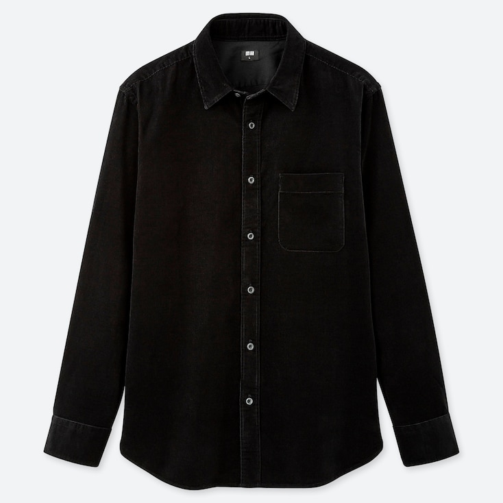 MEN CORDUROY LONG-SLEEVE SHIRT, BLACK, large