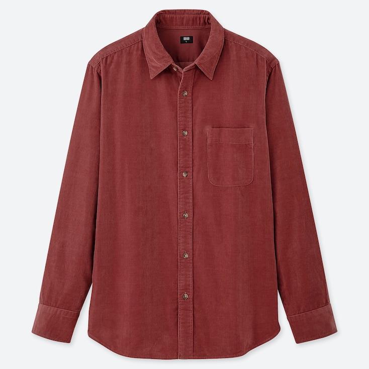 MEN CORDUROY LONG-SLEEVE SHIRT, RED, large