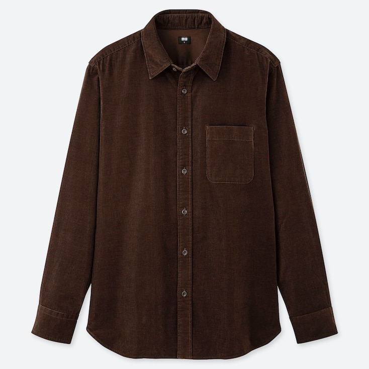 MEN CORDUROY LONG-SLEEVE SHIRT, BROWN, large
