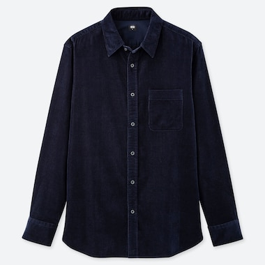 MEN CORDUROY LONG-SLEEVE SHIRT, NAVY, medium