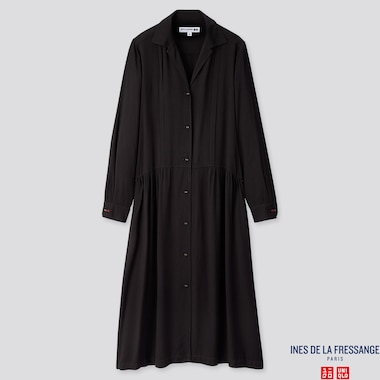 WOMEN RAYON SHIRT LONG-SLEEVE DRESS (INES DE LA FRESSANGE), BLACK, medium