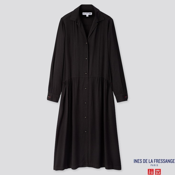 WOMEN RAYON SHIRT LONG-SLEEVE DRESS (INES DE LA FRESSANGE), BLACK, large