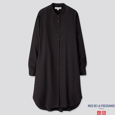 WOMEN FLANNEL LONG-SLEEVE DRESS (INES DE LA FRESSANGE), BLACK, medium