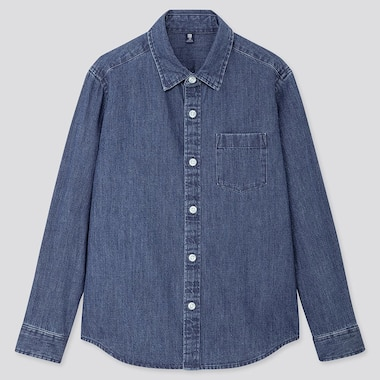 KIDS DENIM LONG-SLEEVE SHIRT, BLUE, medium