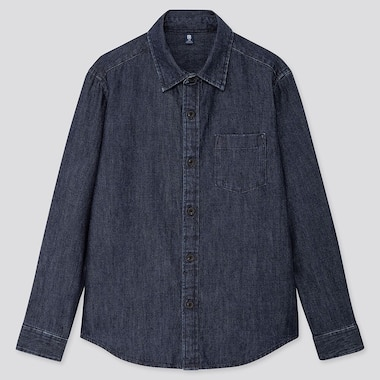 KIDS DENIM LONG SLEEVED SHIRT