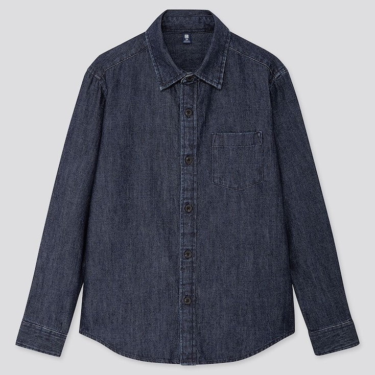 KIDS DENIM LONG-SLEEVE SHIRT, NAVY, large