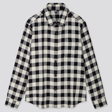 Kids Flannel Checked Long-Sleeve Shirt, Off White, Medium
