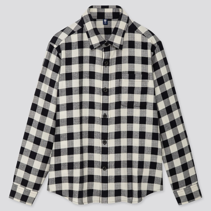 KIDS FLANNEL CHECKED LONG-SLEEVE SHIRT, OFF WHITE, large