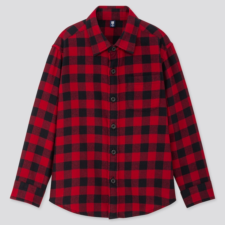 KIDS FLANNEL CHECKED LONG-SLEEVE SHIRT, RED, large
