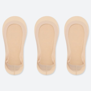 WOMEN SHEER FOOTSIES (3 PAIRS), NATURAL, medium