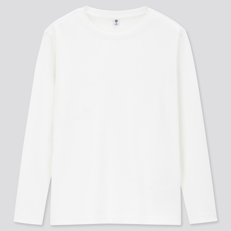 KIDS SOFT TOUCH CREW NECK LONG-SLEEVE T-SHIRT, WHITE, large