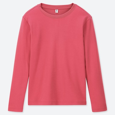 KIDS SOFT TOUCH CREW NECK LONG-SLEEVE T-SHIRT, PINK, medium