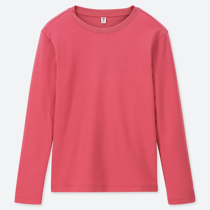 KIDS SOFT TOUCH CREW NECK LONG-SLEEVE T-SHIRT, PINK, large