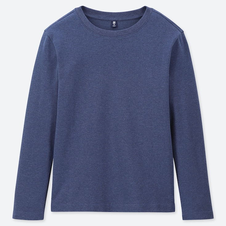 Kids Soft Touch Crew Neck Long-Sleeve T-Shirt, Blue, Large