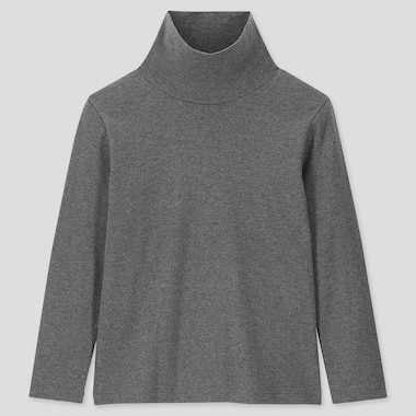 KIDS SOFT TOUCH TURTLENECK LONG-SLEEVE T-SHIRT, DARK GRAY, medium