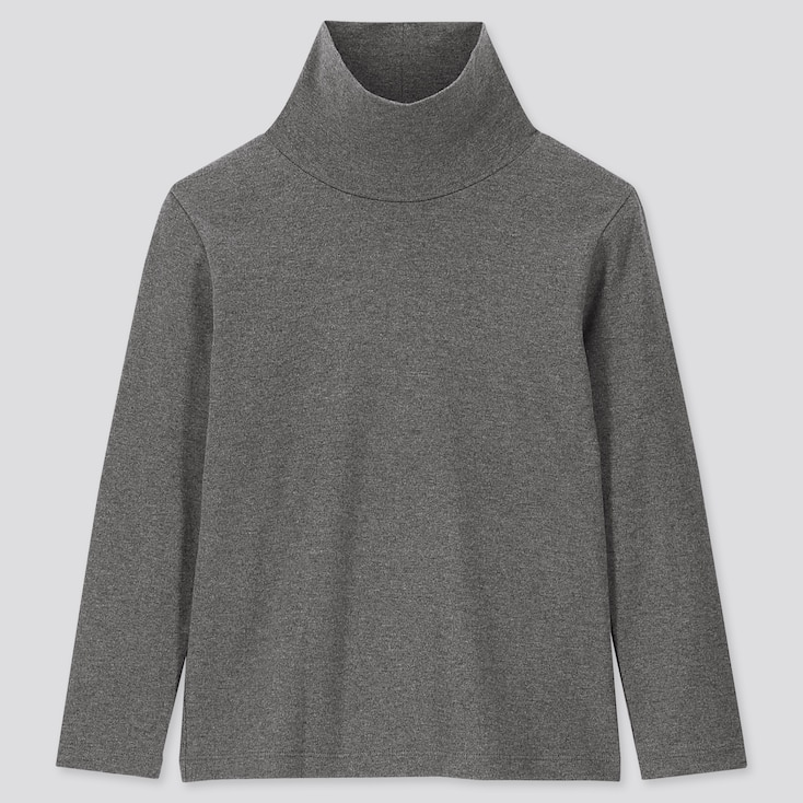 KIDS SOFT TOUCH TURTLENECK LONG-SLEEVE T-SHIRT, DARK GRAY, large
