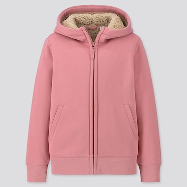 KIDS PILE-LINED SWEAT LONG-SLEEVE FULL-ZIP HOODIE, PINK, medium