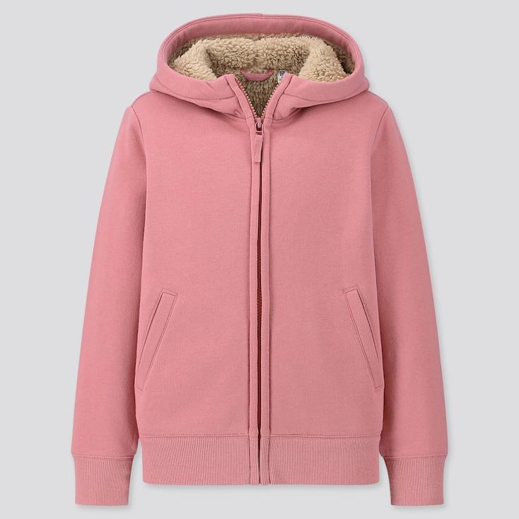Kids Pile-lined Sweat Long-sleeve Full-zip Hoodie, Pink, Large