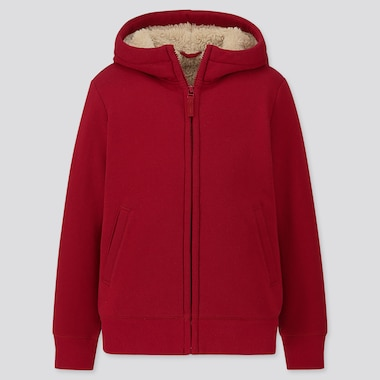 KIDS PILE-LINED SWEAT LONG-SLEEVE FULL-ZIP HOODIE, RED, medium