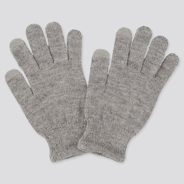 KIDS HEATTECH KNITTED GLOVES, GRAY, medium