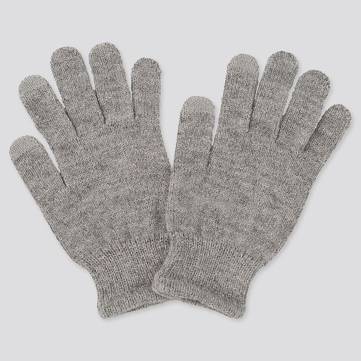 KIDS HEATTECH KNITTED GLOVES, GRAY, large