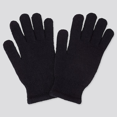 Kids Heattech Knitted Gloves, Navy, Medium